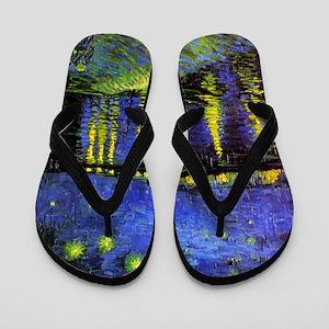 Van Gogh Starry Night Over The Rhone Flip Flops