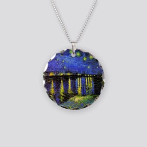 Van Gogh Starry Night Over T Necklace Circle Charm