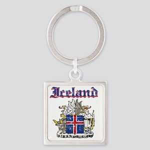 Iceland Coat of Arms Square Keychain