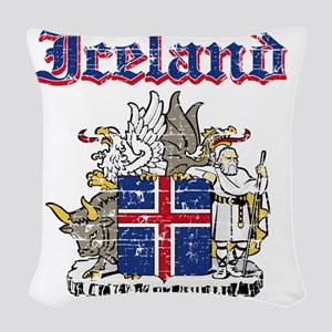 Iceland Coat of Arms Woven Throw Pillow
