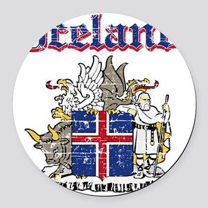 Iceland Coat of Arms Round Car Magnet