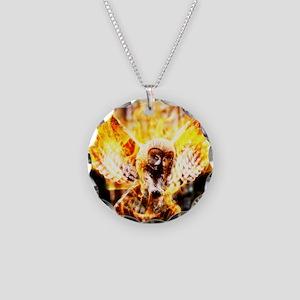 Phoenix Owl Necklace Circle Charm