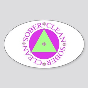 Clean and Sober Circle Flower Triangle Sticker (Ov