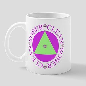 Clean and Sober Circle Flower Triangle Mug