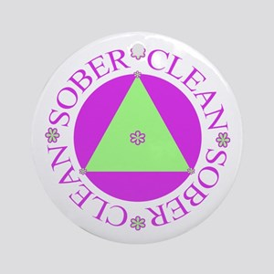 Clean and Sober Circle Flower Triangle Ornament (R