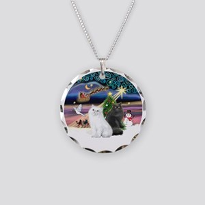 C-Magic - Two Persian cats Necklace Circle Charm