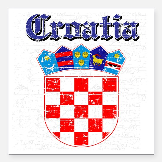 "Croatian Coat Of Arms Square Car Magnet 3"" x 3"""