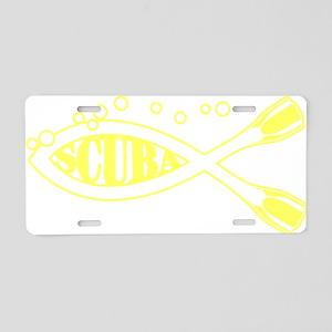 Scuba fish Yellow Aluminum License Plate