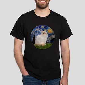 Starry Night-Himalayan Cat (FlamePt) Dark T-Shirt