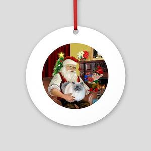 Santa - Himalayan Cat (smoke) Round Ornament