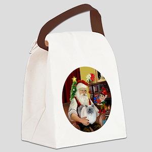 Santa - Himalayan Cat (smoke) Canvas Lunch Bag