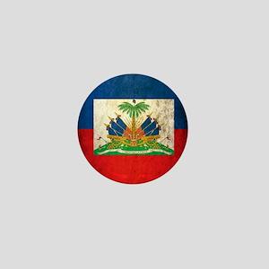 Grunge Haiti Flag Mini Button