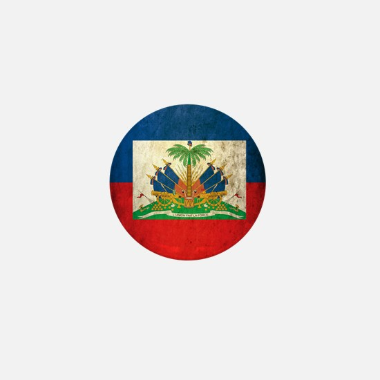 Grunge Haiti Flag Mini Button