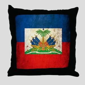 Grunge Haiti Flag Throw Pillow