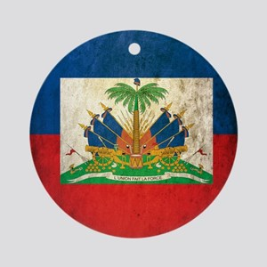 Grunge Haiti Flag Round Ornament
