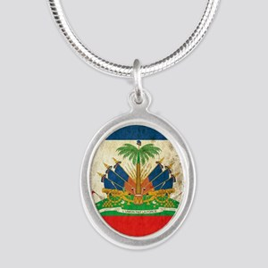 Grunge Haiti Flag Silver Oval Necklace
