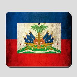 Grunge Haiti Flag Mousepad