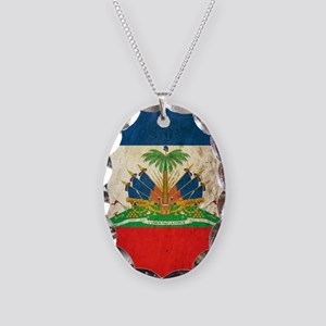 Grunge Haiti Flag Necklace Oval Charm