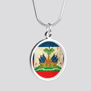 Grunge Haiti Flag Silver Round Necklace