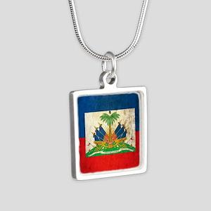 Grunge Haiti Flag Silver Square Necklace