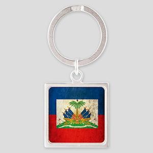 Grunge Haiti Flag Square Keychain
