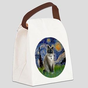 Starry - Snow Shoe Cat Canvas Lunch Bag