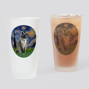 Starry - Snow Shoe Cat Drinking Glass