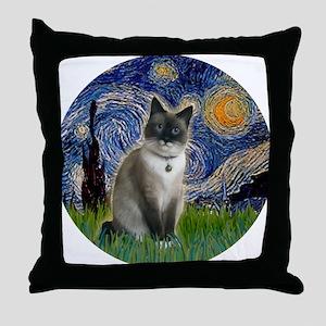 Starry - Snow Shoe Cat Throw Pillow