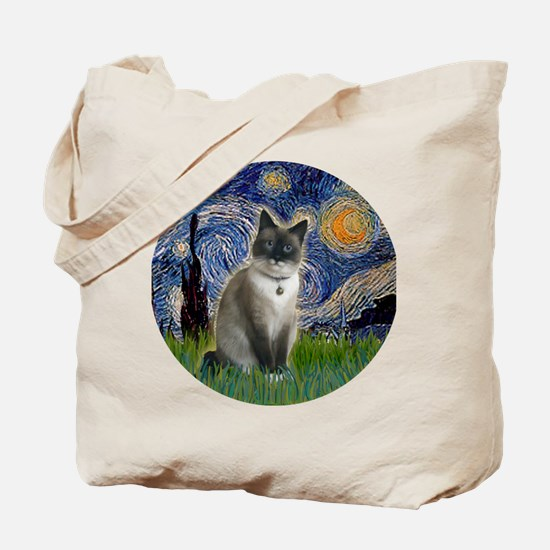 Starry - Snow Shoe Cat Tote Bag