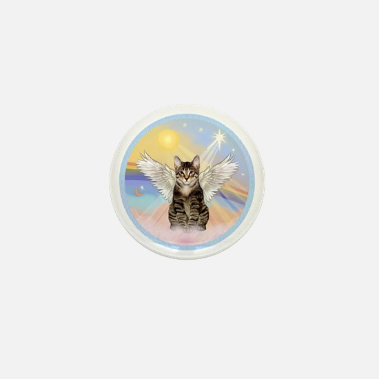 Clouds - Tabby cat angel Mini Button