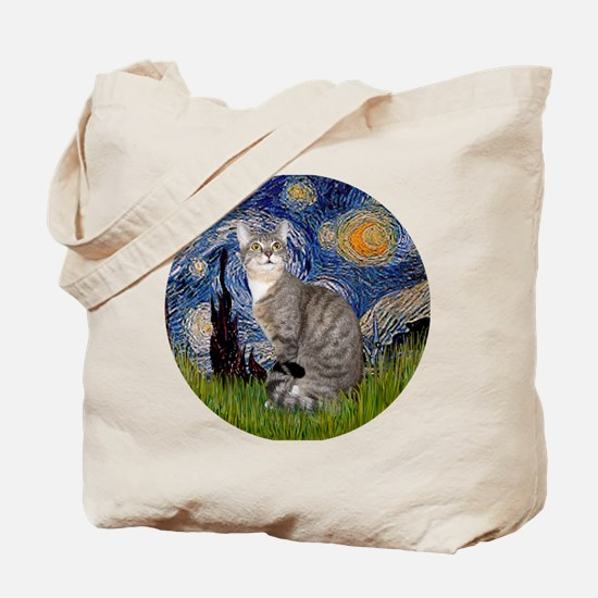 Starry - Tabby and white cat Tote Bag