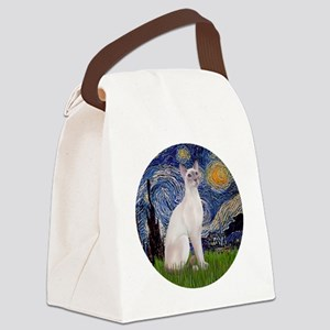 Starry Night - Siamese Cat (Lilac Canvas Lunch Bag