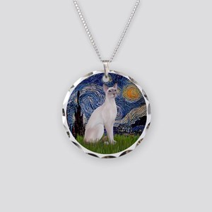 Starry Night - Siamese Cat ( Necklace Circle Charm