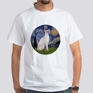 Starry Night - Siamese Cat (Lilac White T-Shirt