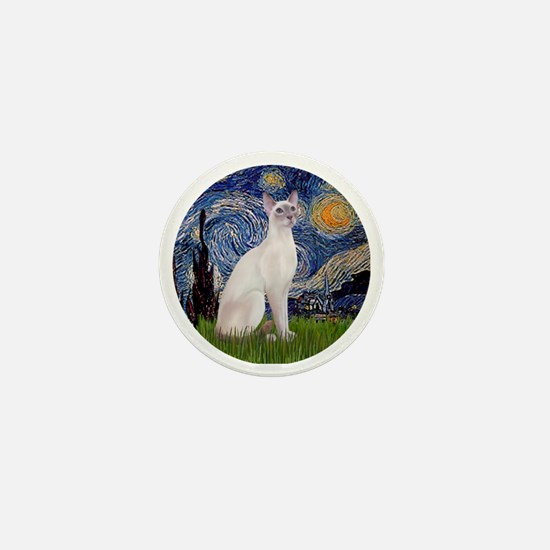 Starry Night - Siamese Cat (LilacPt) Mini Button