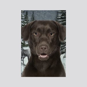 Chocolate Lab Christmas Rectangle Magnet