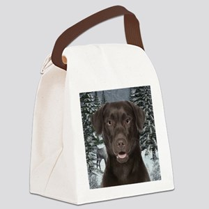 Chocolate Lab Christmas Canvas Lunch Bag