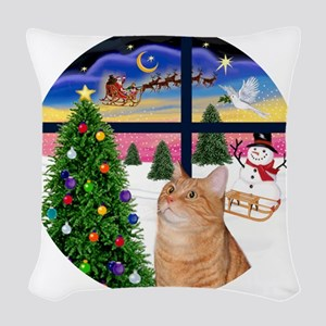 X Window - Orange Tabby 46 Woven Throw Pillow
