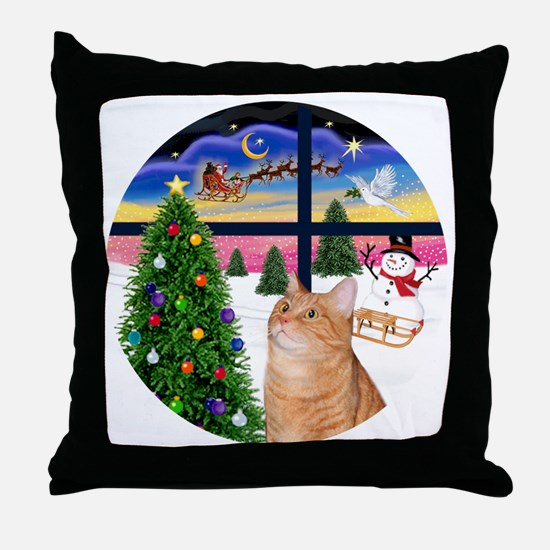 X Window - Orange Tabby 46 Throw Pillow