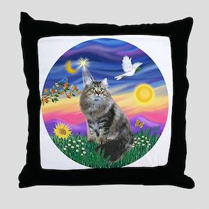 Twilight - Silberian cat Throw Pillow