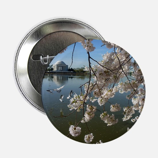 "Seagulls Fly Under Peal bloom cherry  2.25"" Button"