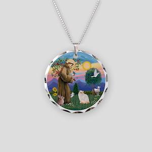 St Francis - Himalayan (Flam Necklace Circle Charm