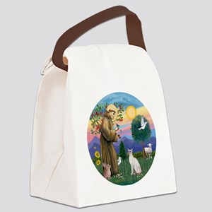 St Francis - Siamese Cat (Lilac P Canvas Lunch Bag