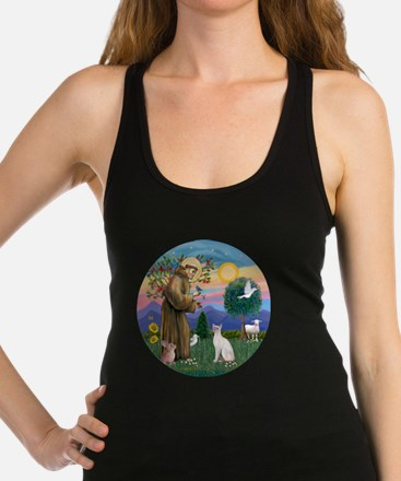 St Francis - Siamese Cat (Lilac Racerback Tank Top