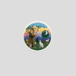 St Francis - Siamese Cat (Lilac Pt) Mini Button