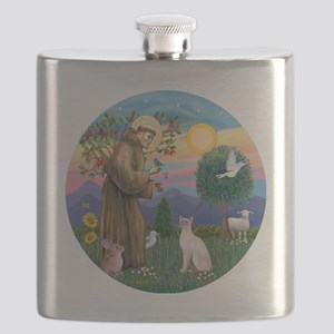 St Francis - Siamese Cat (Lilac Pt) Flask