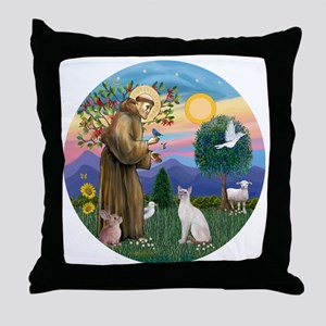 St Francis - Siamese Cat (Lilac Pt) Throw Pillow