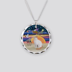 XAngel-Turkish Van cat Necklace Circle Charm