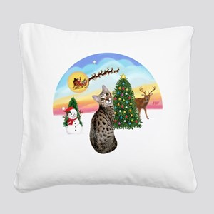 TakeOff - Bengal Cat1 Square Canvas Pillow