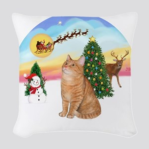 Take Off - Orange Tabby cat Woven Throw Pillow